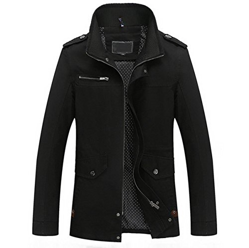 Lanmworn Herren 3 Farben Herbst Winter MäNtel MäNner Stylische Stehkragen Zip Taste Outdoor Jacke MilitäR Windjacken, Baumwolle Leichte Softshell Schlanke Graben Trenchcoat Jacken. (Double-taste Single Breasted)