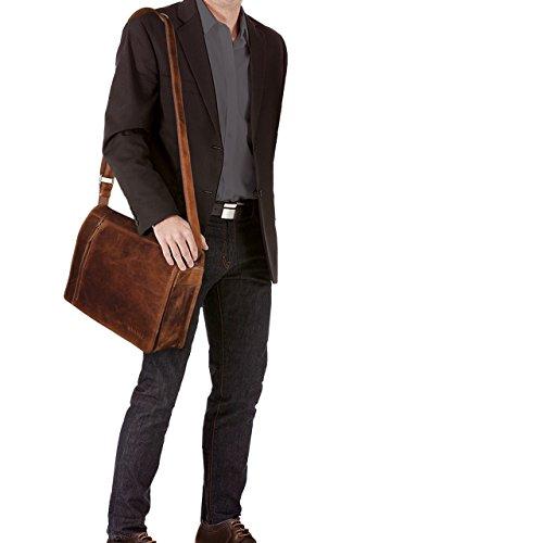 STILORD 'Noah' Vintage Umhängetasche Leder 13,3 Zoll Laptoptasche Studium Uni Büro Arbeit Unisex für MacBook echtes Rindsleder, Farbe:mittel - braun kara - cognac