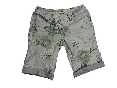 Buena Vista Damen Stretch Jeans Shorts Bermuda Krempelhose Malibu Butterfly weitere Farben (XL, Khaki) (Khaki Denim-shorts)