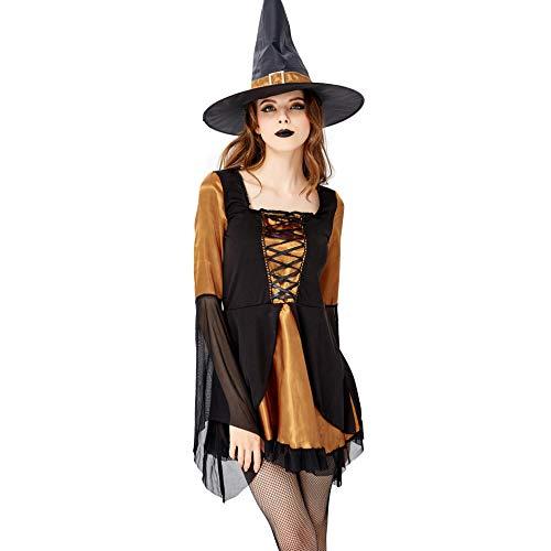 rauen Halloween Kostüm Evil Horror Vampire Hexe Spiel Bühne Cosplay Kleid Hexenkostüm,Black,L ()