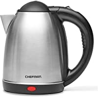 Chefman, Cordless Electric Kettle 1.7-Liter, Stainless-Steel