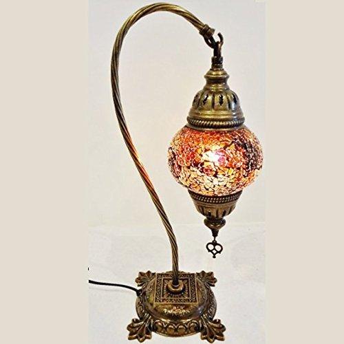 MOSAIC LAMP LIGHT SHADE DECOR GLOBE HANDMADE GLASS MOROCCAN TURKISH BEDROOM NEW (AMBER (MEDIUM))