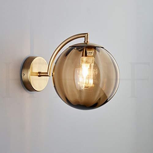 Amber Glas Schneiden (FJY Postmoderne Metall Wohnzimmer Glas Wandlampe amerikanischen minimalistischen nordischen kreative Schlafzimmer Nachttischlampe Arbeitszimmer Wandlampe (Color : Amber))