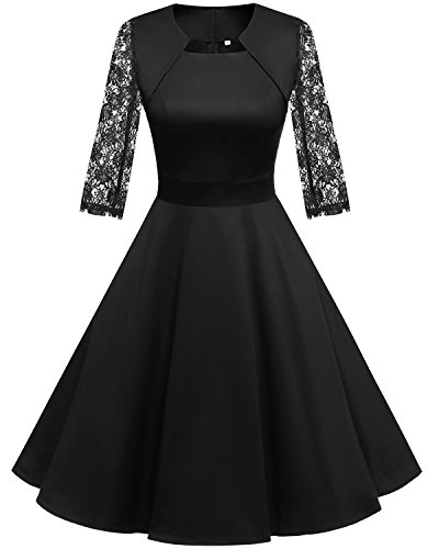 Homrain Damen 50er Vintage Retro Kleid Party Langarm Rockabilly Cocktail Abendkleider Black-1 S