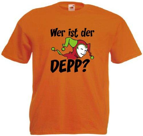 T-Shirt für den Junggesellinnenabschied mit dem Motiv Wer ist der Depp? Orange