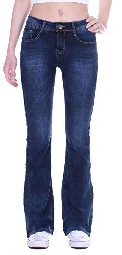 Damen Bootcut Jeans, Schlagjeans, Schlag Hose, Hüftjeans in blau Damenjeans Damenhose Bootcutjeans Bootcuthose Schlaghose Weites Bein Hüfthose Hüft Hüftig Low Rise Denim Size Gr Größe S 36