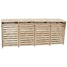 Mülltonnenbox Holz Natur für vier 240 Liter Tonnen, alternativ können auch 120 Liter Tonnen eingestellt werden