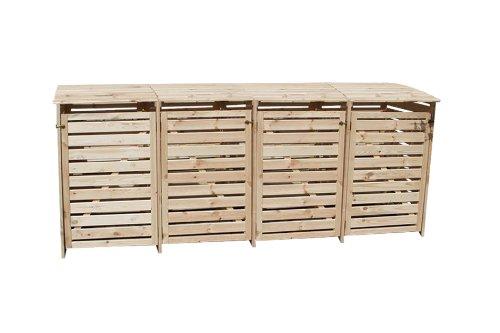 Mülltonnenbox für 4 Tonnen in Holz natur - 2