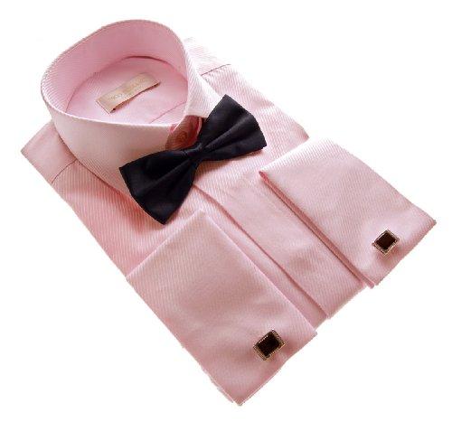 Slim Fit Smoking Hemd Schwarze Fliege verschiedene Farben Struktur New Kent Kragen Langarm Rosa