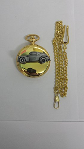 Volvo PV544ref281Zinn Effekt Emblem auf eine poliert Gold Fall Herren Geschenk Quarz Taschenuhr hergestellt in Sheffield