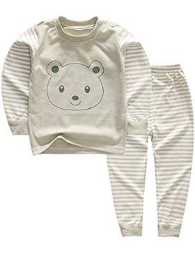 100% Baumwolle Baby Jungen Mädchen Pyjamas Set Langarm Nachtwäsche (6M-5Jahre)