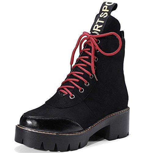 Minetom Donne Autunno Inverno Punta Rotonda Chunky Suola Stivali Spessi Lace Up Neve Stivali Snow Boots Tubo Corto Scarpe Nero
