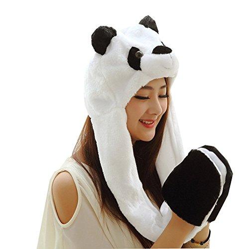 Meta-u cappelli berretti lungo in finta pelliccia di animale, cappellini cappuccio/sciarpa/scaldacollo/guanti tutto in uno