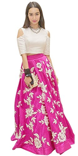 Women's Top & Tunic Latest New Style Ethnic Wear Collection Todays Dealr All Type Modern Banglori Pink Embroidered Lehenga Style Salwar Suit  available at amazon for Rs.759