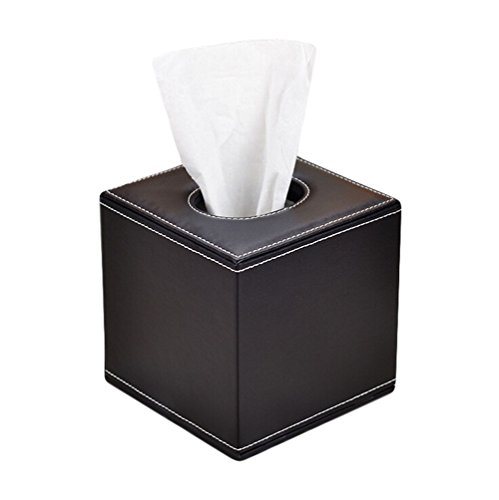 Da.Wa Leder Roll Papier Box für Holding Roll Papier Fall Tray Pumping für Home Office Auto Tissue Box Halter/Tissue Box Cover,Schwarz