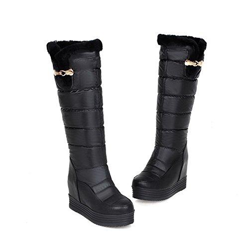 AllhqFashion Damen Wedges Blend-Materialien Rein Mitte-Spitze Stiefel mit Metalldekoration Schwarz