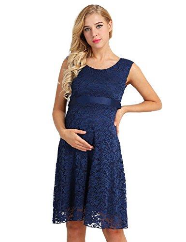 dskleid Spitze Schwangerschafts Kleid Mutterschafts Stillkleid Ball Party Festliche Kleider Brautkleid Knielang Marineblau 36 ()