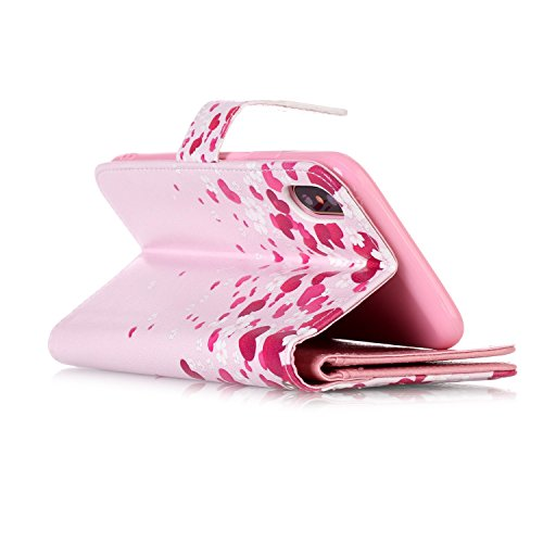 inShang Hülle für iPhone X 5.8 inch mit integriertem Brieftaschen-Design, iPhoneX 5.8inch cover case mit Standfunktion. Love