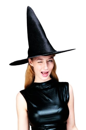 DRESS ME UP - Hut Fasching Damen Hexenhut Samtig Schwarz Spitzhut Wicked Witch H23
