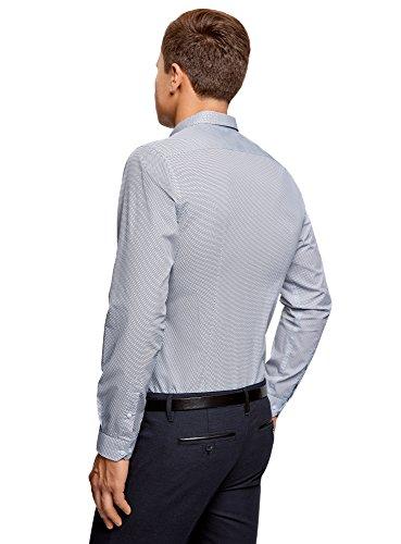 oodji Ultra Uomo Camicia Attillata in Stampa Grafica Fitta Blu (1079G)