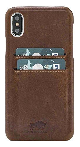 "Solo Pelle Iphone X Case Lederhülle Ledertasche Backcover "" Slimfit "" in Cognac Braun Burned Cognac Braun"