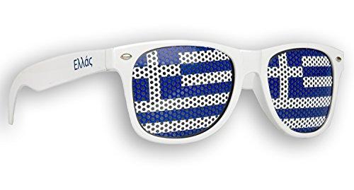 3 x Fanbrille Griechenland - Greece - Ελλάς - Sonnenbrille - Brille Ελλάς - Weiß - Fan Artikel