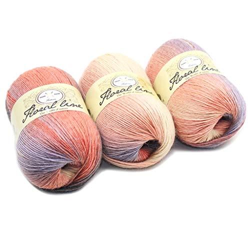Dabixx filato di lana, morbido filato pettinato arcobaleno colori sfumati fai da te maglia per bambini sciarpa di lana scialle filo per uncinetto - 3#