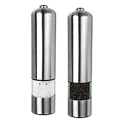 Schramm® 2 Stück Elektrische LED Salz oder Pfeffermühle Gewürzmühle unbefüllt mit Keramik Mahlwerk Pfeffer Salz Gewürz Mühle 2er Pack