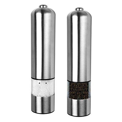 Schramm 2 Piezas LED Eléctrica Molino de sal o pimienta Molino de especias sin relleno con Molinillo de cerámica Pepper Salt Spice Grinder Pack de 2