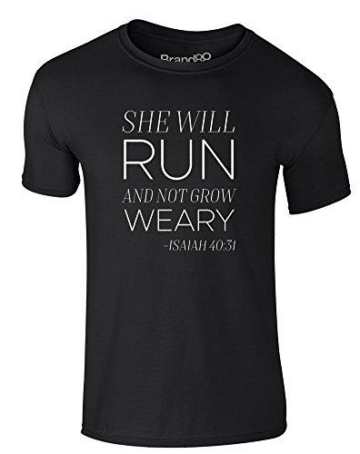 Brand88 - She Will Run, Erwachsene Gedrucktes T-Shirt Schwarz/Weiß