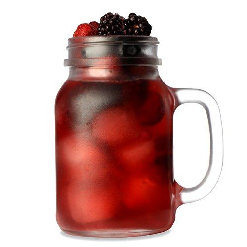 Frosted Mason Trinken Glas, 0.5 Liter, 4-er Set in Geschenkbox Trinkglas, Gläser für Cocktails und Smoothies …