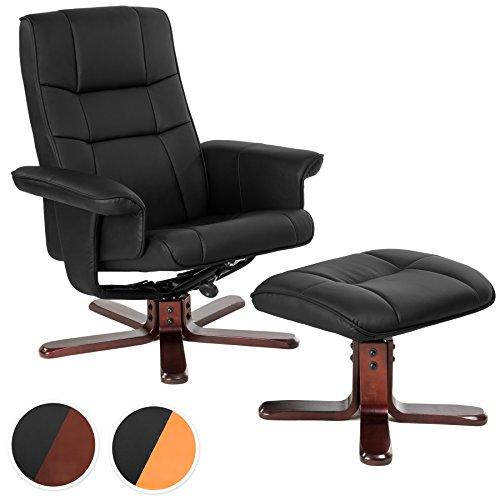 TecTake Fernsehsessel mit Hocker TV Sessel kippbar drehbar aus schwarzem Kunstleder mit Holzfüßen - diverse Modelle - (Dunkle Fußkreuz | Nr. 401438)