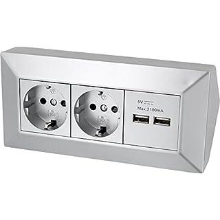 2-fach Aufbau Steckdosenleiste Ecksteckdose + 2x USB Ladebuchse - 230V 3600W - silber