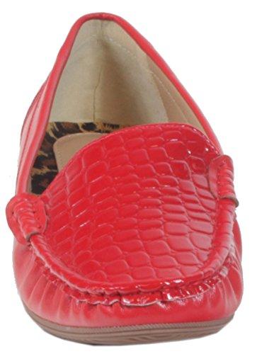 Ocala-vernis balerinas mocassins pour femme avec croco gravé chaussures, mocassins bureau business cocktail unie 36, 37, 38, 39, 40, 41 Rouge