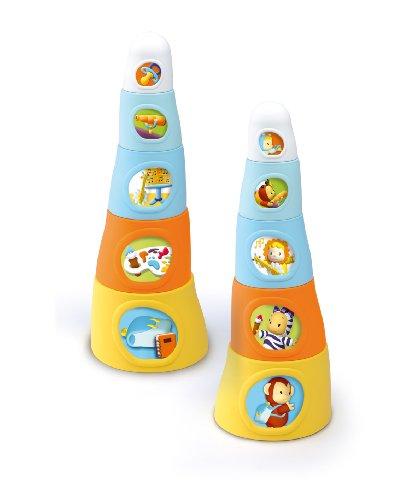 Smoby 211127/004 - Sortier, Stapel und Steckspielzeug Stapeltoren Cotoons Happy Tower, mehrfarbig