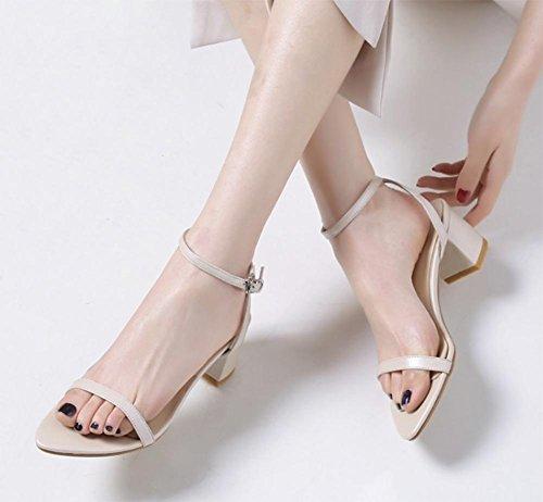 Dick mit weiblichen Sandalen mit dem Fischkopf Frauen Sandalen Sommer offene Schuhe apricot