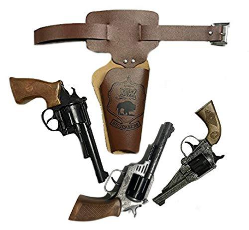 KarnevalsTeufel Wilder Westen Set für Kinder und Erwachsene Gürtel-Tasche braun Pistole Cowboy-Sheriff-Set (Modell 3) (Gürtel Und Holster Für Erwachsene Kostüm Set)