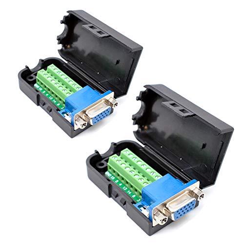 oiyagai 2DB153+ 9D-Sub VGA Weiblich 3Row 15pol Connector Adapter mit Mutter Terminal Breakout Board Frei Schweißen -