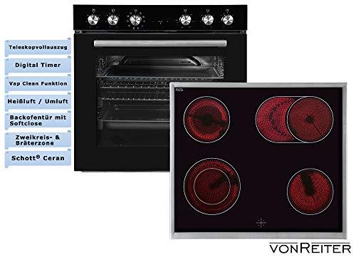 vonReiter Einbau Herd Kochfeldkombination Ceran Kochfeld digital Timer Teleskopauszug VREHE - Kontrolllampe Ofen