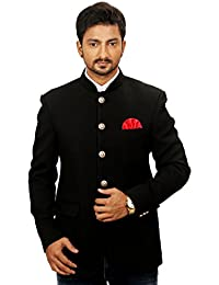 4d4ad34fa79 R.J. Fusion   Threads Men s Black Wedding Formal Cocktail Jodhpuri Coat