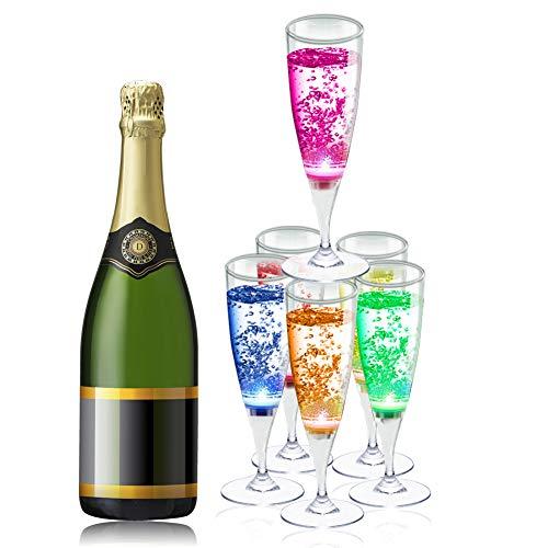 XinXu Copa de Champán de Vinos de LED Champagne Flutes Coloridas Copas de Champán/Vasos de Vino 6 colores con Líquido Activado para el Banquete Boda Bar