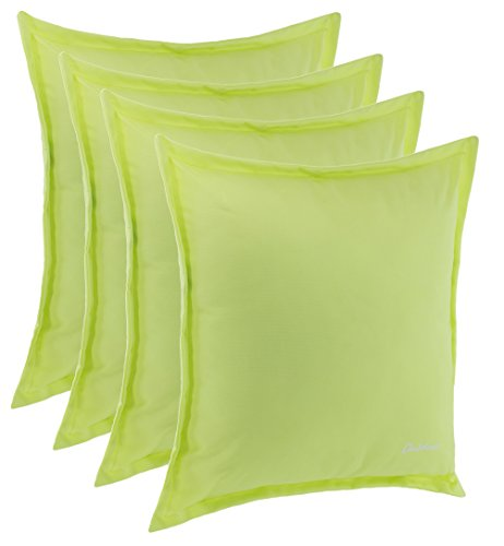 Grünes Dekokissen (Brandsseller Outdoor Kissen Dekokissen - Schmutz- und Wasserabweisend mit Reißverschluss 2 cm Steg - 350 gr. Füllung - Größe: 48 x 48 cm (4er-Vorteilspack, Hellgrün))