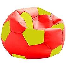 Hagoelvago - Vagofunseats-puff futbol-polipiel,colores la roja España medidas 45asiento 65h x 65 ø cm aprox, color rojo / amarillo