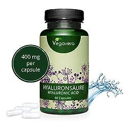 VEGAVERO® Hyaluronsäure Kapseln | Vegan | NATÜRLICH - nicht synthetisch | Ideale Hyaluron Größe 800 - 1500 kDa | Hochdosiert - 400 mg | Ohne Zusatzstoffe | Laborgeprüft | 60 Kapseln