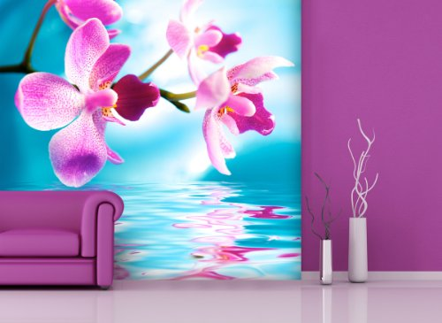 Price comparison product image Non-woven wallpaper pink orchid in Various Sizes–A Choice Between Paper or Ecological–PVC-Free, Odourless, Latex Print Solvent-Free, Wallpaper with, Poster, Photo Wallpaper Mural, Mural for apportionments Theme.