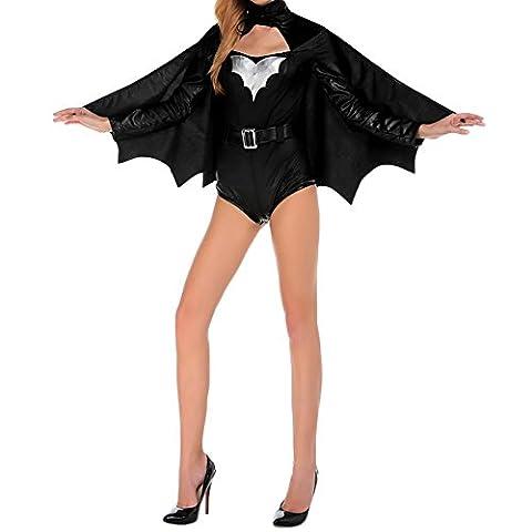 CHIC-CHIC Femmes Charmant Chauve-souris Cape+ Maillot de Corps Skull Costumes Cosplay Robe Noir Démon et Ange Halloween Noël
