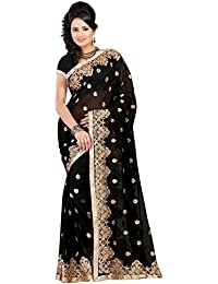 Pahal Fashion Women's Georgette Saree With Blouse Piece (Royalclub,Black,Free Size)