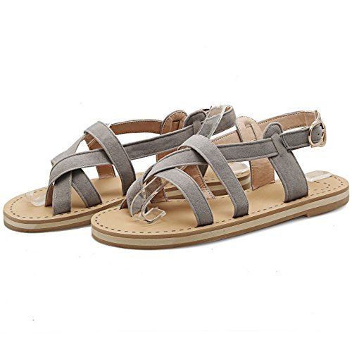 COOLCEPT Damen Mode Slip On Sandalen Slingback Flach Schuhe Grau