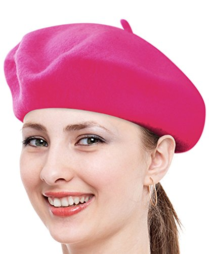 Babe Mall Inc® Chapeau Beret français classique unisexe de Laine - rose chaud