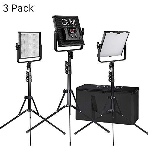 GVM LED Videoleuchten Beleuchtungssatz, kontinuierliche Videoleuchten CRI97 + TLCI97 + 18500lux Dimmbare zweifarbige 3200K-5600K LED Leuchten mit Ständer für Studiofotografie YouTube (3 Pack) -